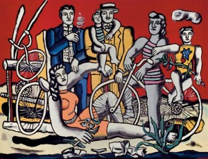 "Leger's ""Les loisirs sur fond rouge"" tapestry by Yvette Cauquil-Prince"